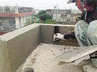 セメントを塗って巣穴を塗りつぶし、密着性を高める